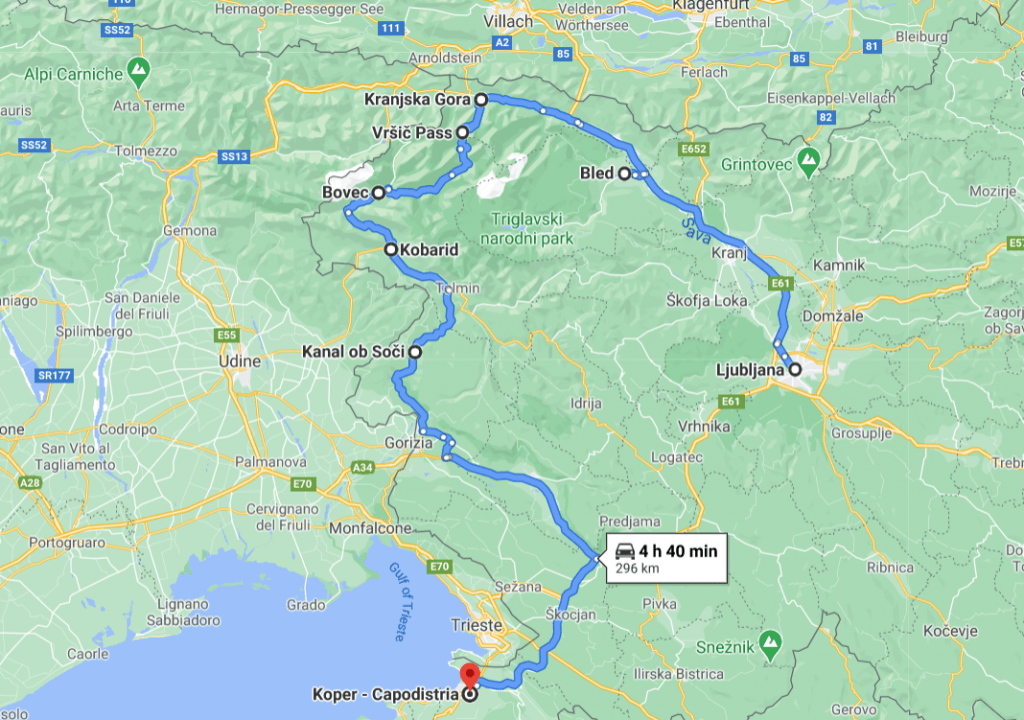 Road Trip Slovenia Map