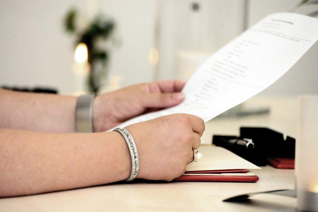 Insurance hands, read, document